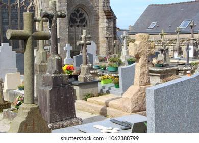 Tombstones in the cemetery of Saint Ronan church in Locronan