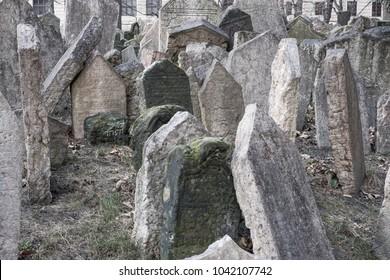 Tombstones in the Jewish cemetery, Prague, Czech republic