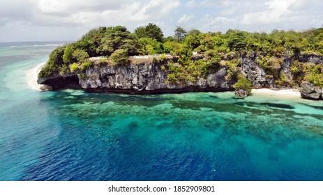 Tomia island from drone, Wakatobi, Sulawesi, Indonesia