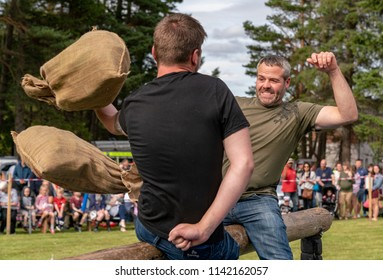 TOMINTOUL, MORAY, SCOTLAND - 21 JULY 2018: This is an action shot from the Tomintoul Highland Games, Moray, Scotland on 21 July 2018.