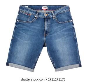 tommy hilfiger denim shorts path isolated on white