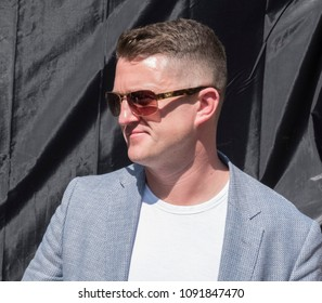 Tommy Robinson arrives at the Day for Freedom event in Whitehall, London.  06/05/18