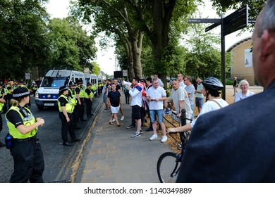 Tommy Robinson supporters argue with the Antifa during the Free Tommy Robinson protest in Cambridge, United Kingdom, 21/07/18.