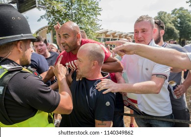 Tommy Robinson supporters argue with the police during the Free Tommy Robinson protest in Cambridge, United Kingdom, 21/07/18.