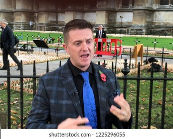 Tommy Robinson visits a war memorial in London, UK, 11/06/18