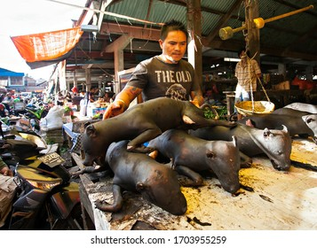 Tomohon, Indonesia : grilled dog in a stall in extreme market Tomohon. Extreme market of Tomohon is a market that sell various meat from wild life animal such as snake, dog, or bat (11/2012).