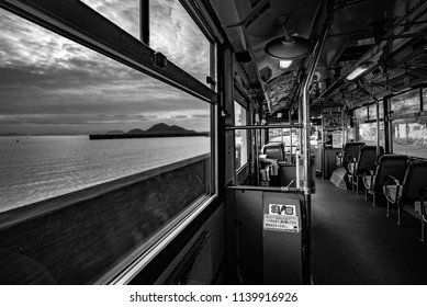 Tomonoura, Hiroshima prefecture, Chūgoku(San'in-San'yō) region, Japan, January 2017: Bus to Tomonoura