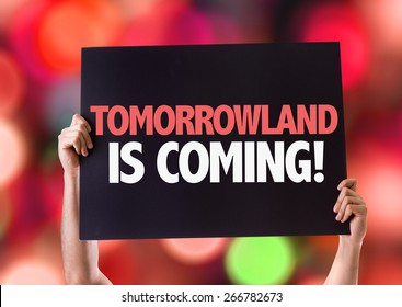Tomorrowland is Coming card with bokeh background