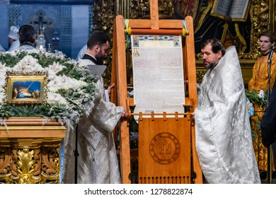 Tomos, a decree granting the Orthodox Church of Ukraine independence, during the Orthodox Christmas service at the Saint Sophia's Cathedral in Kyiv, Ukraine. 07-01-2019