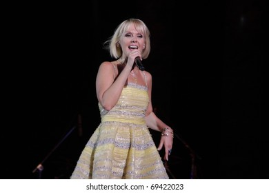 """TOMSK - 30 SEPTEMBER: Singer Valery appears on stage of the Big Concert hall with the new program """"On love road"""" on September 30, 2010 Tomsk, Russia."""
