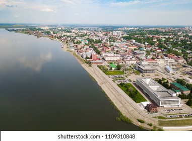 Tomsk cityscape and Tom river from aerial view. Old siberian town.