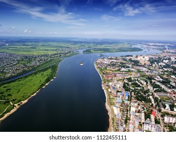Tomsk cityscape and Tom river from aerial view. Siberia, Russia