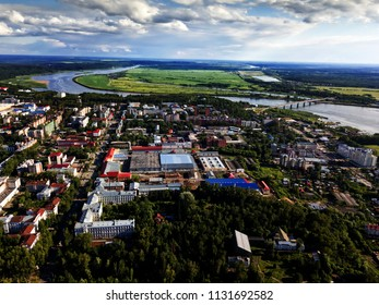 Tomsk cityscape and Tom river from aerial view. Modern city. Tomsk, Russia