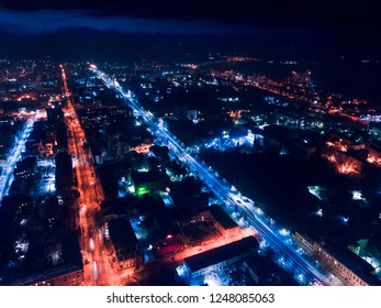 Tomsk nigth illumination cityscape Siberia, Russia. Tom river. Drone aerial top view.