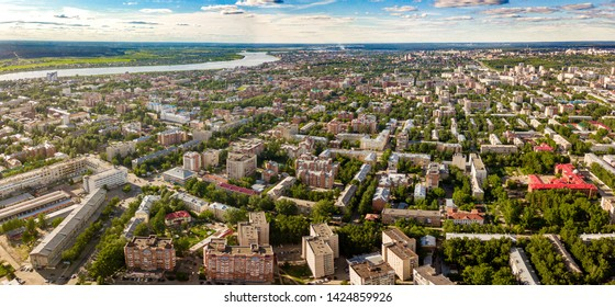 Tomsk panoramic cityscape. Tom river from aerial view. Old town architecture. Modern city view. Siberia, Russia