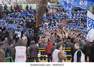 TOMSK, RUSSIA - APRIL 5: Fans of Football Club Zenit at the match Championship of Russia among Tom'(Tomsk) - Zenit (Spb), April 5, 2009 in Tomsk, Russia.