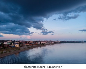 TOMSK, RUSSIA - August 25, 2018: Panoramic view of city, Tom river. Drone aerial top view.