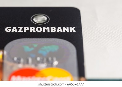 TOMSK, RUSSIA - February 16, 2017: Gazprombank credit card and MasterCard payment system