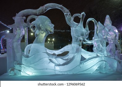 TOMSK, RUSSIA - JANUARY 05, 2019: Christmas ice sculptures on the Novo-Cathedral Square in Tomsk. Siberia, Russia.