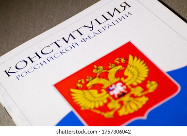 TOMSK, RUSSIA - June 16, 2020: Constitution of the Russian Federation. Russia coat of arms