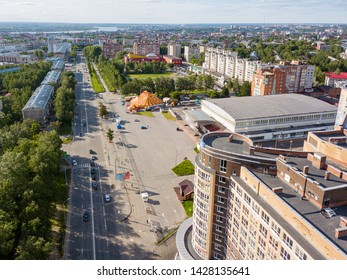 TOMSK, RUSSIA - June 19, 2019: Tomsk cityscape from aerial view. Krasnoarmeyskaya street. Modern european city view