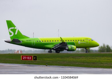 TOMSK, RUSSIA - JUNE 3, 2018: Embraer 170 of the S7-Siberia airline after landing at the Bogashovo (Tomsk) airport.
