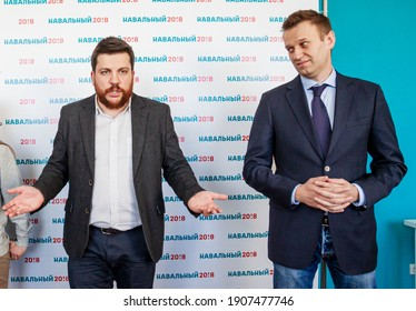 TOMSK, RUSSIA - MARCH 17, 2017: Leonid Volkov - Leader of the Navalny Team, associate of opposition leader Alexei Navalny