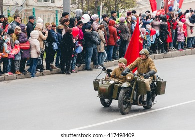 TOMSK, RUSSIA - MAY 9, 2016: Russian military transport at parade on annual Victory Day, May, 9, 2016 in Tomsk, Russia