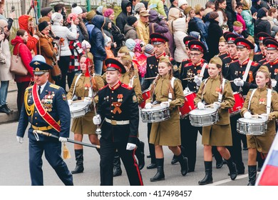 TOMSK, RUSSIA - MAY 9, 2016: Russian ceremony of opening military parade on Victory Day, May, 9, 2016 in Tomsk, Russia.