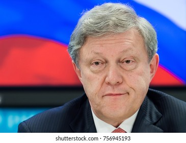 "TOMSK, RUSSIA - NOVEMBER 16, 2017: Chairman of the federal political committee of the party ""Yabloko"" Grigory Yavlinsky announces participation Russian presidential election 2018"