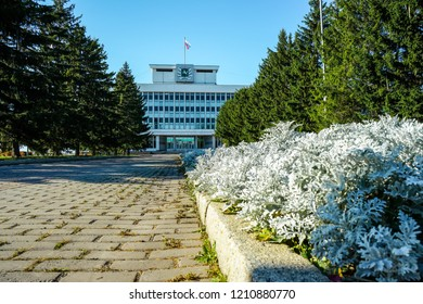 Tomsk, Russia- October 06, 2018 : architecture of old siberian city Tomsk