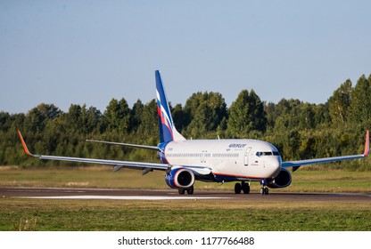 Tomsk / Russia - September 7, 2018: Boeing 737 Aeroflot Russian Airlines in Tomsk Airport
