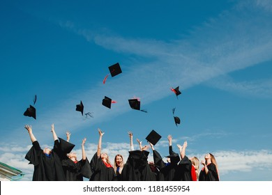 TOMSK, RUSSIA - September 8, 2018: Graduates students in university robes celebrate end of academic year Bachelor and Master programs.