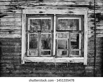 Tomsk, Russia. Vintage window - detail of old wooden house in Tomsk, Siberia, Russia. Black and white