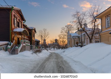 TOMSK/RUSSIA - FEBRUARY 10, 2018. An old street in the central part of Tomsk on a frosty evening