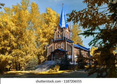 TOMSK/RUSSIA - SEPTEMBER 21, 2018. Wooden building Evangelical Lutheran Church of St. Mary in Tomsk