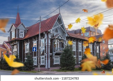 TOMSK/RUSSIA - SEPTEMBER 21, 2018. Wooden house with administrative premises - an architectural monument in Tomsk