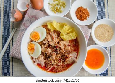 Tomyam Noodles with pork and egg thai food