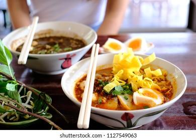 Tomyam Noodles. Thai spicy noodle in restaurant.