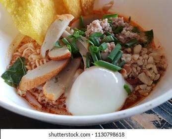 tomyam spicy noodle in a bowl
