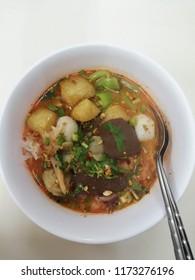 Tomyam Yentafo Noodle.Thai noodle.local food.