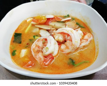 Tomyum gung, Sour and spicy prawn soup. one of the most popular Thai food