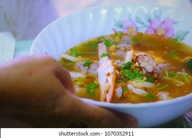 Tom-yum seafood noodle thai food spicy and delicious