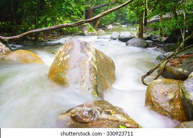 Ton Nga Chang waterfall,Hatyai Songkhla Thailand,Shallow depth of field, focus at stone on foreground.