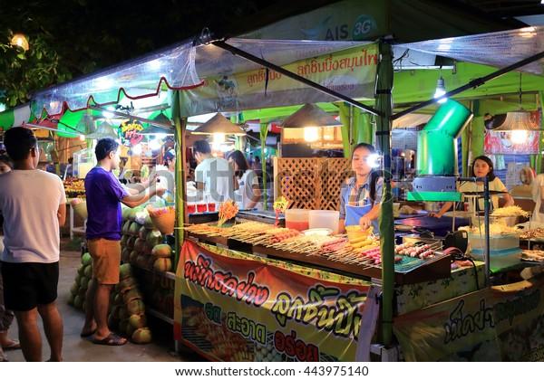Ton Tann Green Market , Khon Kaen - Thailand , June 23 - 2016 : Small shop in Ton Tann Green Market at Khon Kane province Thailand , consist of food , shoes and cloth shop around the market.