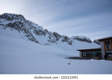 Tonale Pass, Italy - February 09, 2019: View of the mountains near the Tonale Pass during a winter sunny day. Tonale is a mountain pass between Lombardy and Trentino, in the northern Italy