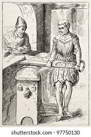 Tondeur-de-Drap old illustration (cloth shearer, old craft). After antique engraving of Jost Amman (16th century), published on Magasin Pittoresque, Paris, 1882