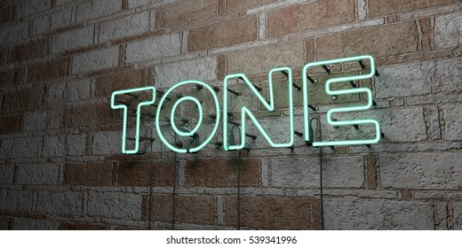 TONE - Glowing Neon Sign on stonework wall - 3D rendered royalty free stock illustration.  Can be used for online banner ads and direct mailers.