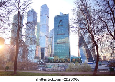 toned background blur city skyscrapers Moscow