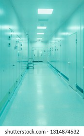 Toned cold blue clean corridor in scientific research lab, medical center.